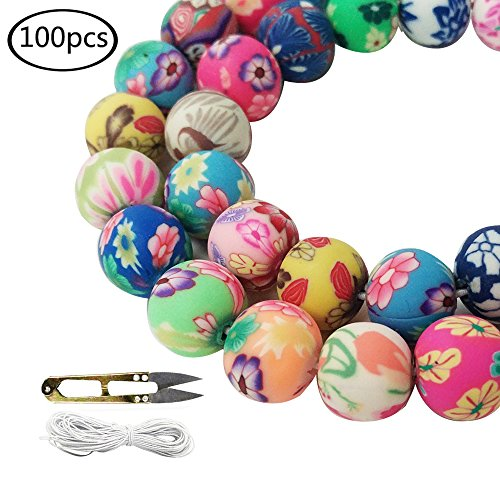 WXBOOM 100pcs Assorted Handmade Colorful Pattern Beads Fimo Polymer Clay Round Spacer Bulk Beads with 1 Pair of Scissors and 1 White Cord (10mm) for Jewelry Making (Clay Fimo Handmade)
