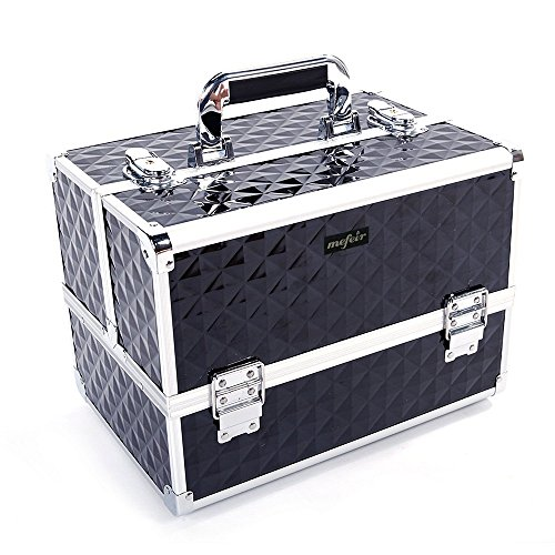 Mefeir 12.6'' Portable Makeup Train Cases,Lockable Professional Cosmetic Trolley Travel Artist Train Case Organizer Box, Ideal Gift for Mother's Day (Black) by Mefeir