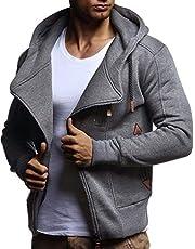 LEIF NELSON Herren Freizeitjacke-Hoodie Kaputze | Moderne Sweatjacke-Kapuzenpullover | Männer Jacke Slim Fit LN8235