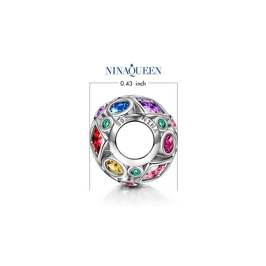 NINAQUEEN Charms for Her♥ 925 Sterling Silver Colorful Beads Openwork Bead Great for Bracelet and Necklace Jewelry Summer Rainbow