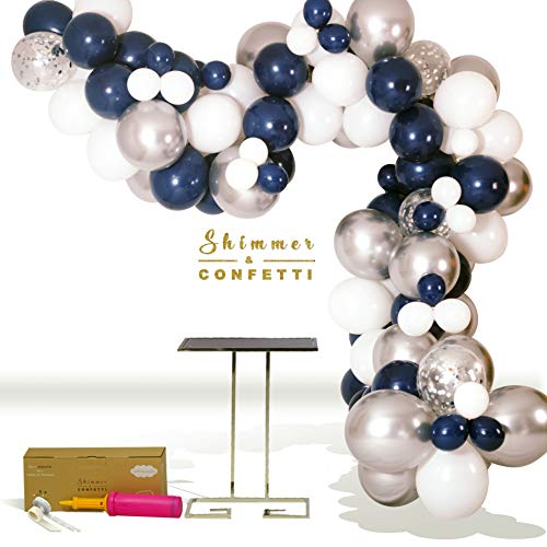 SHIMMER & CONFETTI 126 Pack 16ft Premium Navy Blue Silver & White Balloon Arch & Garland Kit | 120 Navy, White & Chrome Silver Balloons, 6 Silver Confetti Balloons, Hand Pump | Birthday, Graduation]()
