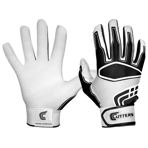 Cutters Gloves Men's Prime Command Batting Gloves, White/Black, (Cutter Baseball Batting Gloves)