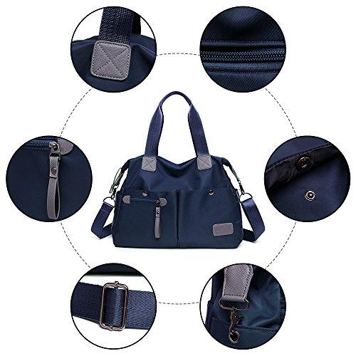 grandes al Oscuro Azul agua ligera Azul hombro Nylon bolsillos con Mujer Bolso para Bolsa Impermeable de resistente de GENOLD 1 Tx1FU6p