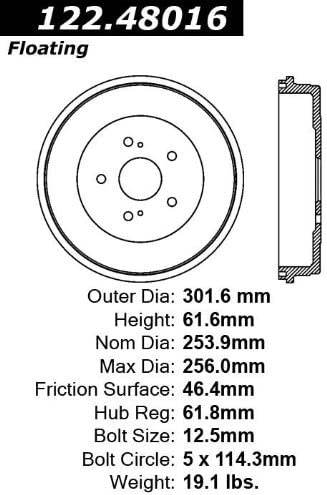 Centric Parts 122.48015 Brake Drum Power Slot