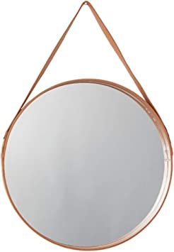 Wfh Luxury Wall Mirrors With Leather Frame Round Wall Hanging Vanity Mirrors Make Up Cosmetic Mirror For Living Rooms Or Bedroom Diameter 40cm 15 7in Amazon Co Uk Diy Tools