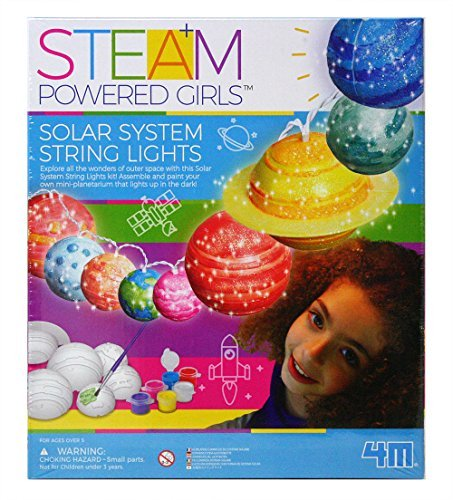 4M 3825 Steam Powered Girls Solar System String Lights Toy, White by 4M