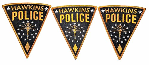 """Stranger Things TV Series Hawkins Police Logo 5"""" Tall Embroidered Set of 3 PATHCES"""