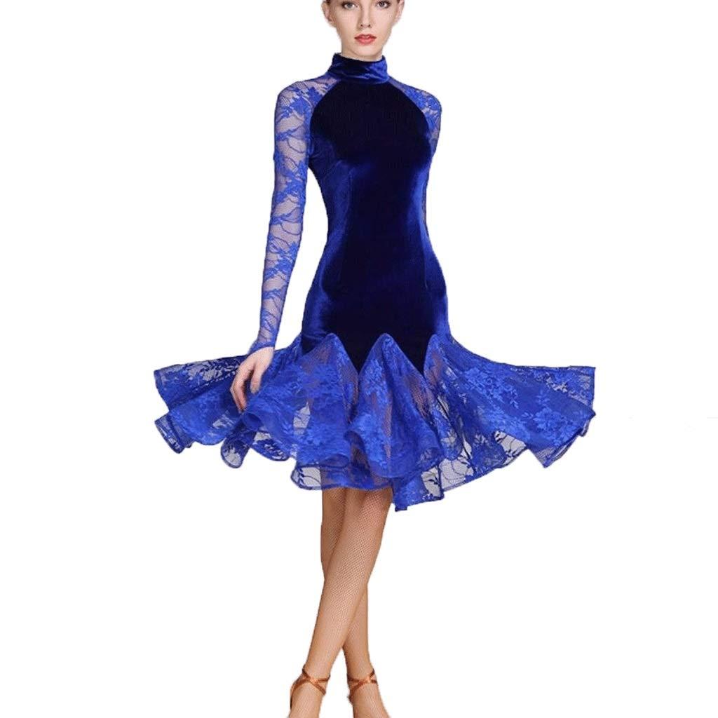 最安値挑戦! 女性のためのラテンダンスダンス衣装標準的な標準的なダンスの服 B07Q3KVXNL、レースのスプライス長袖ハイネックアート試験競争ダンス衣装 XXL ブルー XXL B07Q3KVXNL XXL ブルー ブルー XXL, 東京レッドチェリー:42ca421a --- a0267596.xsph.ru