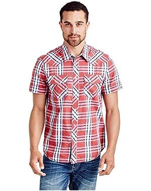 Men's Western Horseshoe Stitch Short Sleeve Button Shirt in Patriot