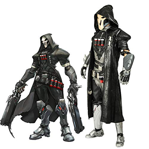 Overwatch Reaper Robe, Officially Licensed, Halloween Cosplay Costume Jacket Coat Gabriel Reyes Game Anime Apparel with -