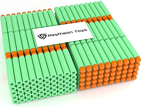 Green 300-Pieces Set, Ultimate Nerf Foam Toy Darts By Ray Squad, Premium Refill Bullets For N-Strike Guns, Universal Mega Pack, Firm and Safe Nerf Accessories Amazing Precision - Gun Sniper Set