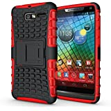 Droid XT907 Case, iThrough Stand Function Dual-layer TPU & Plastic Protection Cover Carrying Case for Motorola Droid M/I XT907 XT890 (Red-)