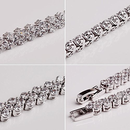 Joyfulshine Women Fashion Cubic Zirconia Crystal Tennis Bracelet White Gold Plated Color White