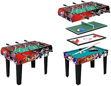 MESA MULTIJUEGOS MOKO 4 EN 1 Futbolín, Billar, Hockey, Ping-pong ...