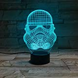 LE3D 3D Optical Illusion Desk Lamp/3D Optical Illusion Night Light, 7 Color LED 3D Lamp, Star Wars 3D LED For Kids and Adults, Trooper Light Up