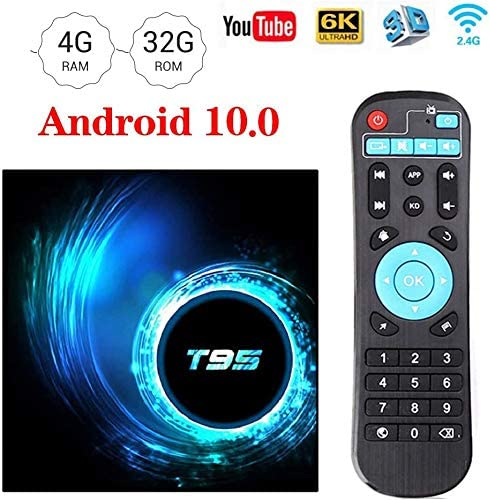 WFGZQ Android 10.0 TV Box, T95 Smart TV Box Allwinner H616 64-bit Quad-Core Arm Cortex-A53 CPU Smart TV Box Admite 3D 4K Ultra HD 2.4/5.0Ghz WiFi Ethernet 10 / 100M Salida HDMI:
