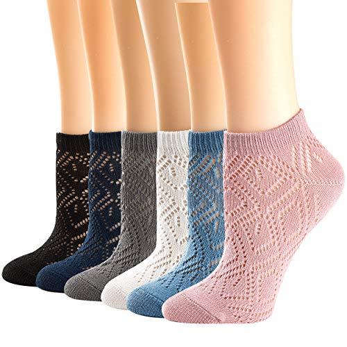 (Womens Socks, Low Cut Ankle Socks Mesh Cotton Non-Slip Comfy Socks AIR FRESH 6 Pac (3))