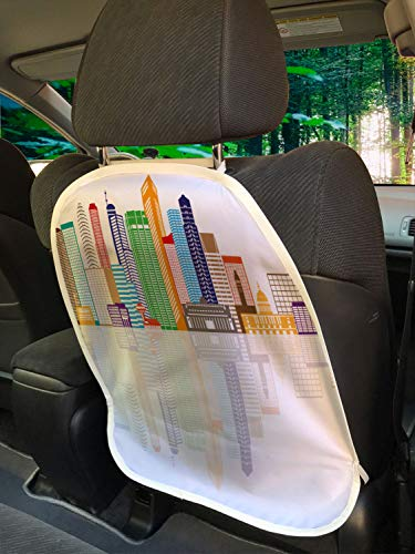 """Ambesonne Singapore Car Seat Protector Set of 2, Geometric and Panoramic Layout of Buildings and The Reflection Famous Landmark, Universal Kick Mat for Dirt Mud & Scratches, 18"""" x 24"""", Multicolor"""