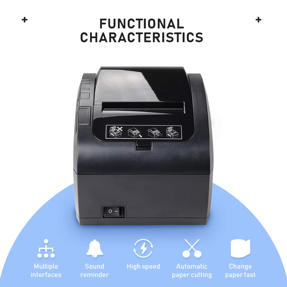 WiFi POS Receipt Printer MUNBYN Black 80mm Direct Thermal Printer with USB Serial Ethernet,Support Android Windows PC 300mm//sec ESC//POS
