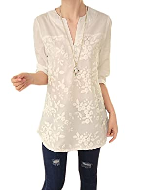 OURS Women Notch Neck Floral Embroidery Long Blouse Shirt Loose Tops (XXL, White)
