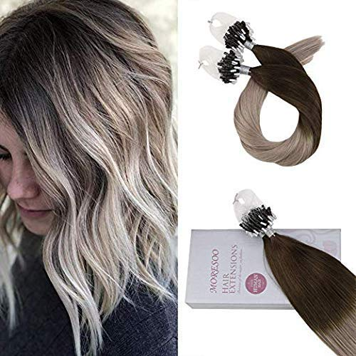 USColorful world Micro Ring Hair Extensions 18 Inch Micro Loop Human Hair Extensions #4 Dark Brown Ombre to #18 Ash Blonde 100% Human Hair Micro Beads Tipped 50g/50s