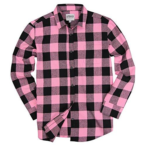 Pink Plaid Black - Urban Boundaries Womens Buffalo Plaid Long Sleeve Flannel Shirt w/Point Collar (Black/Pink, X-Small)