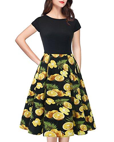 orange Leaves Swing Vintage Floral Style Soire Black HomRain Hepburn Courtes Rockabily Manches Femme Robe OqF4w7f