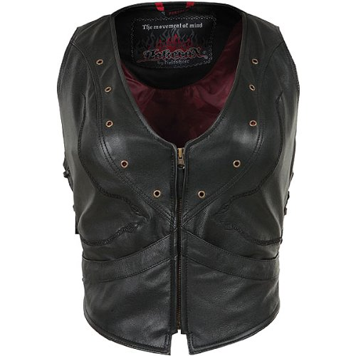 Pokerun Vixen Women's Leather Cruiser Motorcycle Vest - Black / X-Small ()