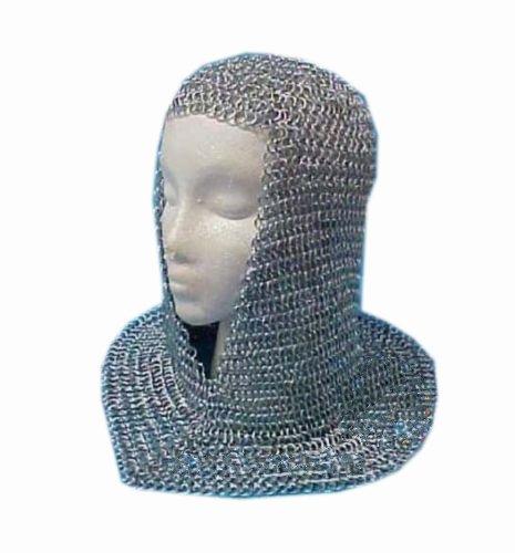 (Queen Brass Chainmail Coif Aluminum V-Neck Chain Mail Hood Medieval Reenacment Armor Costu Standard)