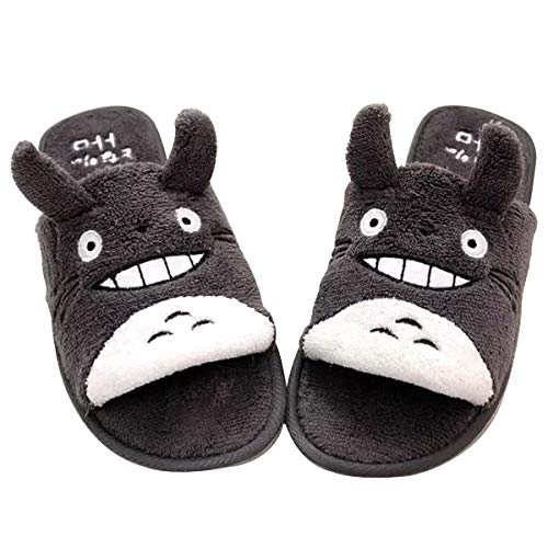 YSpring Cute Slippers AnimeTotoro Slippers Uncovered Toes Plush Non-Slip Slippers My Neighbor Totoro Couple Slippers for Women Home Living(Dark Gray)