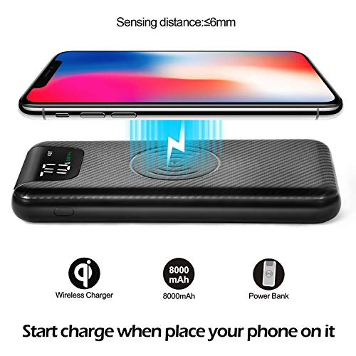 Portable Wireless Charger Cloele Qi Wireless Charger Pad with 8000Mah Led External Battery Packs 2 in 1 with Dual Fast Charging Port for iPhone Xs iPhone Max Galaxy Note 8 S8 S9 and More