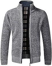 Bysion Gebreid vest voor heren, dikke fleece gevoerde trui, warme trui, rits, opstaande kraag, gebreide jas winter M-3XL