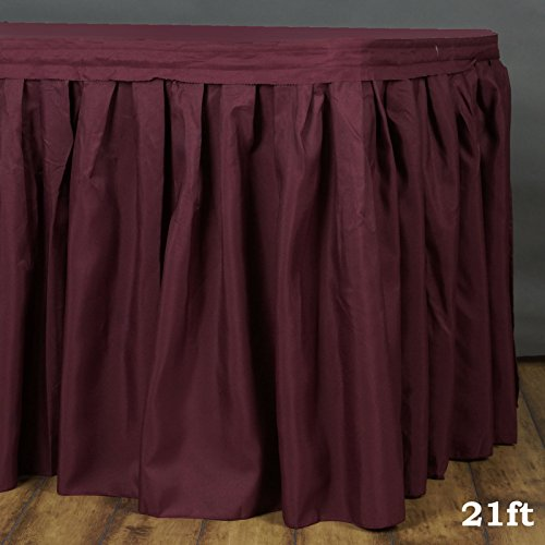 LinenTablecloth 21 ft. Accordion Pleat Polyester Table Skirt Burgundy (Table Skirt Burgundy)