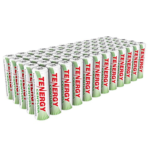 Combo: 60pcs of Tenergy Centura NiMH AA 2000mAh Low Self Discharge Rechargeable Batteries by Tenergy