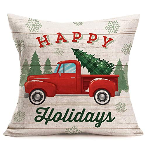 Royalours Merry Christmas Decorative Pillow Covers Xmas Red Car Tree Truck with Happy Holidays Words Pillow Case Cushion Cover Home Sofa 18x18 Inches (Xmas12) ()