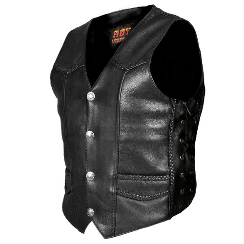 Hot Leathers Heavy Weight Leather Vest with Braided Detail (Black, XXX-Large)