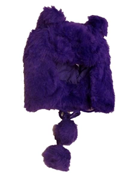 Amazon.com  Womens Plush Purple Faux Fur Trapper Hat Pom Pom Aviator ... 2b55151b683