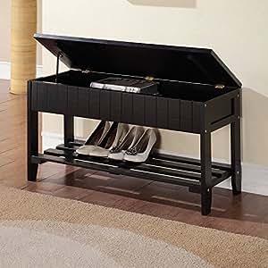 black finish solid wood storage shoe bench shelf garden outdoor. Black Bedroom Furniture Sets. Home Design Ideas