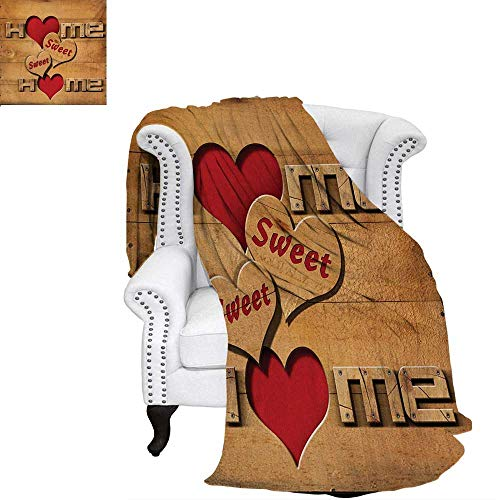 (warmfamily Home Sweet Home Summer Quilt Comforter Words with Heart Shapes on Wooden Planks Log Cabin Country House Digital Printing Blanket 60