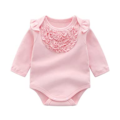 213b2bfbf20 LiLiMeng Newborn Baby Kids Boys Girls Infant Flower Romper Jumpsuit  Bodysuit Cotton Outfit Set Pink