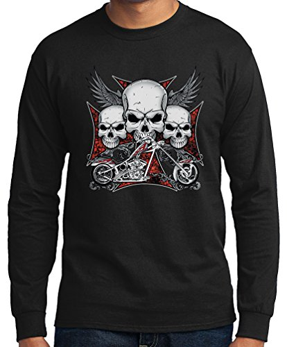 Big Men's Long Sleeve Chopper Skulls Graphic Tee, 3X, Black