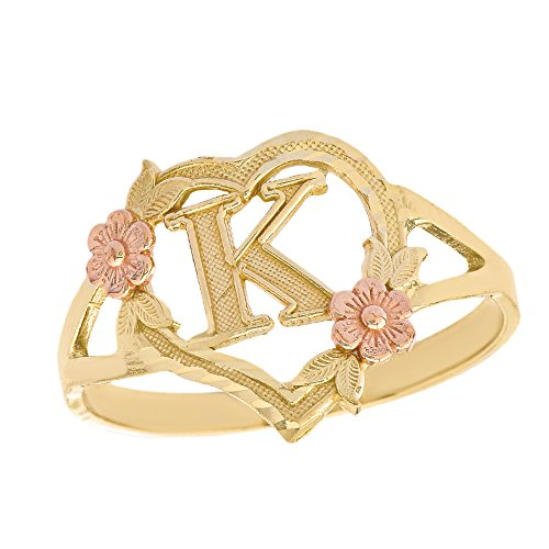 (CaliRoseJewelry 10k Two-Tone Initial Alphabet Personalized Heart Ring in Yellow and Rose Gold (Size 6.25) - Letter K )