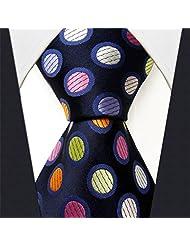 Shlax & Wing Extra Long Size Dots Blue Multicolor Mens Neckties Ties Silk