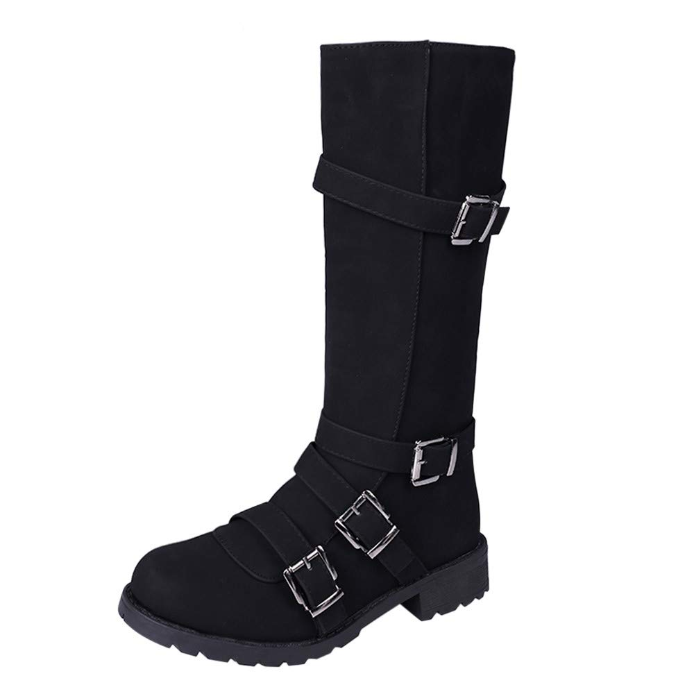 GIFC Women Knee High Boots Fashion Ladies Buckle Winter Roman Motorcycle Long Boots Shoes