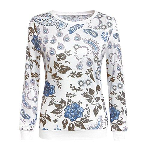 Amlaiworld Algodón manga larga blusa ocasional de tapas de la camisa Multicolor