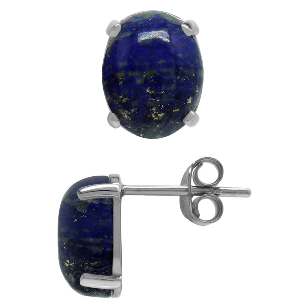 Silvershake Natural Oval 10x8 mm Lapis Lazuli 925 Sterling Silver Stud Earrings