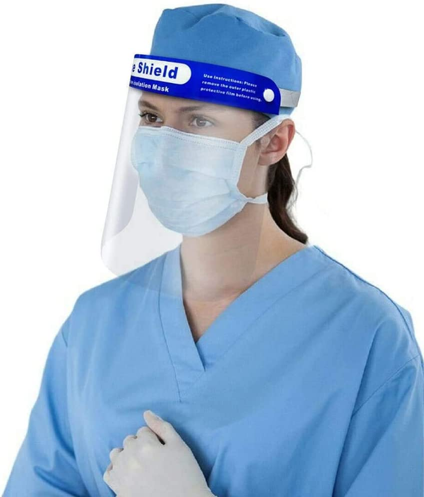 Anti Saliva Isolation Full Face Protective Shield With Double-Sided Aniti Fog Film Visor