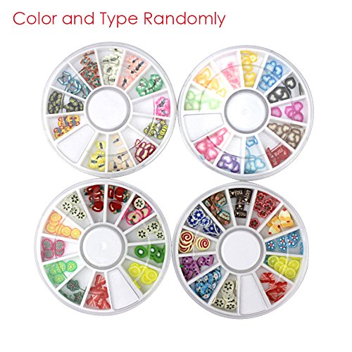 Iebeauty Set of 5 Wheels nail Art Kit Set -DIY Nail Deacal Sticker Decoration Manicure Nail Art Tip Design Wheel(Randomly Color and Type.)