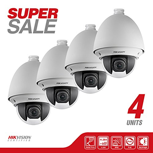 Bundle NEW 4 Hikvision DS-2DE4220-AE Smart Mini Speed Dome PTZ Network Camera 2MP, HD 1920X1080P, 20X Optical/16X Digital Zoom, PoE/24VAC, IP66, H.264/MJPEG, True Day/Night, 3D Intelligent Positioning - Ptz Positioning System