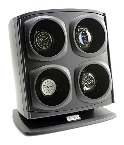 Versa Quad Watch Winder in Black – Independently Controlled Settings – Multiple Direction and Timer Settings – Adjustable Watch Pillow – Plenty of Space for Large Watches